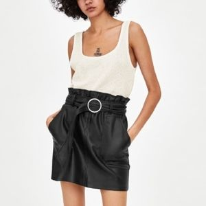 Zara Faux Leather Belted Mini Skirt Black